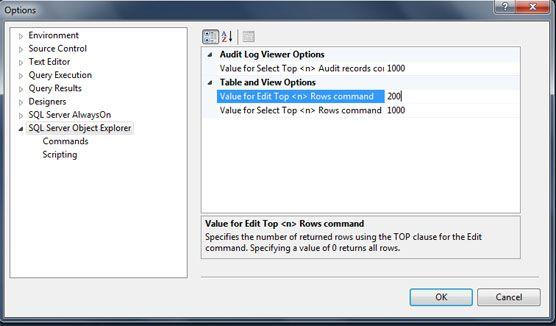 microsoft sql server edit top 200 rows