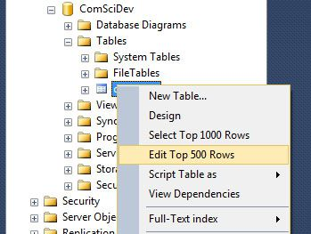 microsoft sql server edit top 200 rows