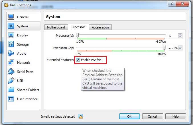 วิธีเปิดการใช้งาน CPU PAE/NX ของ Oracle VM VirtualBox