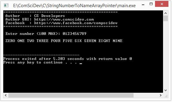 โค้ดภาษาซี รับตัวเลขแล้วเปลี่ยนตัวเลขแต่ละตัวเป็นคำภาษาอังกฤษ โดยการอ่านค่าจาก Array Pointer