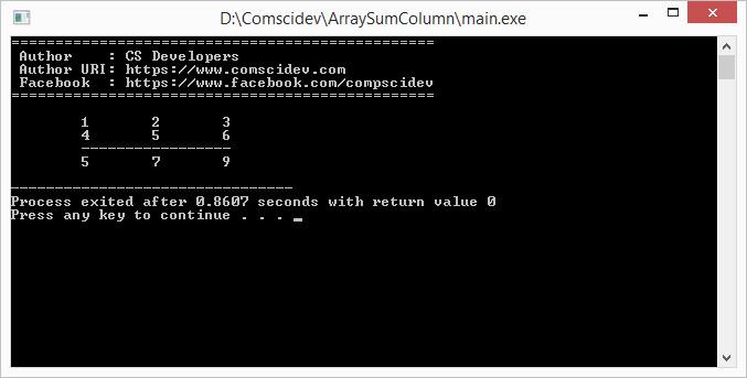 โค้ดภาษาซี โปรแกรมคำนวณหาผลรวมคอลัมน์ของอาร์เรย์ 2 มิติ