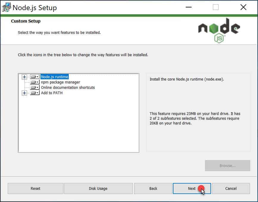วิธีติดตั้ง Node.js สำหรับ Windows