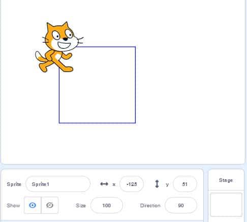 โปรแกรม Scratch วาดรูปสี่เหลี่ยม