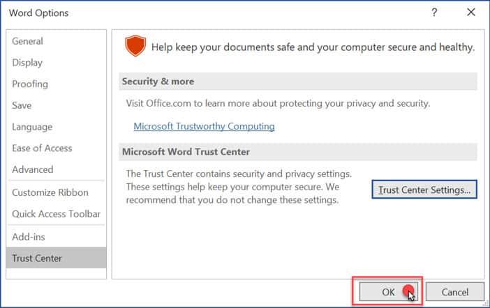 วิธีปิด Protected View ใน Microsoft Office 365